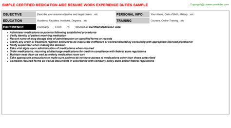 Certified Medication Aide Resume Template by Certified Medication Aide Resumes