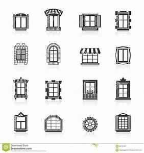 Vintage Windows Set. Flat Exterior Icons Stock Vector ...