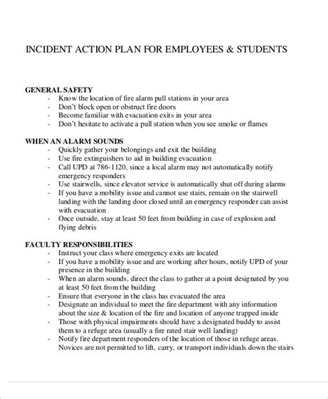 sample incident action plan templates  ms word