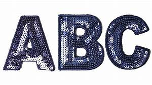 blue sequin letters With patch letters