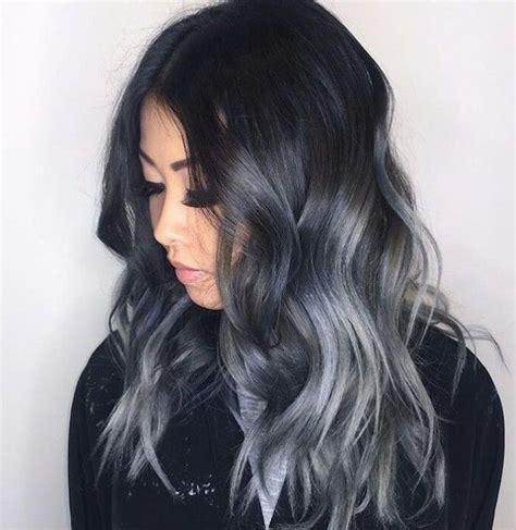 schwarze haare grau färben braune haare graue spitzen pony frisur