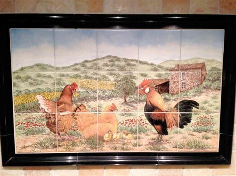 Cindy's French Farmhouse with Chickens backsplash tile mural