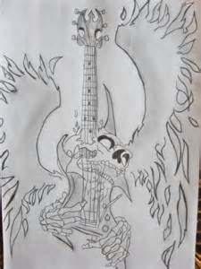 Skull Guitar Drawings