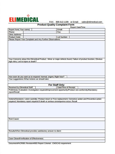 product complaint forms   excel