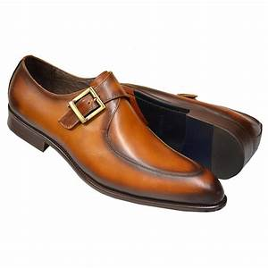 Carrucci Cognac Burnished Calfskin Leather Moc Toe Monk