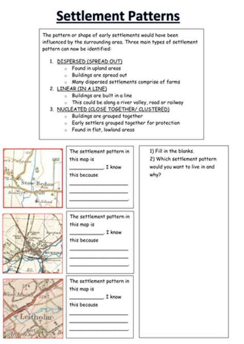 Settlement Patterns Worksheet By Ksims25  Teaching Resources Tes