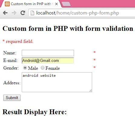 html form required field create custom form in php with form validation required