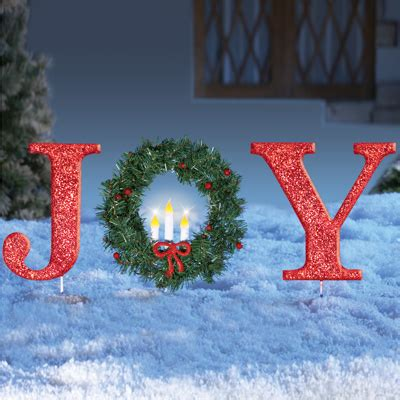lighted holiday joy  wreath stake  collections