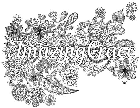 amazing grace adult coloring page