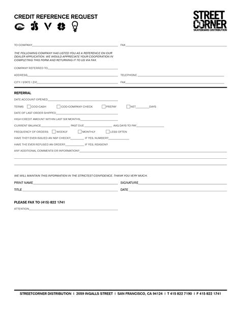 credit reference form  printable documents