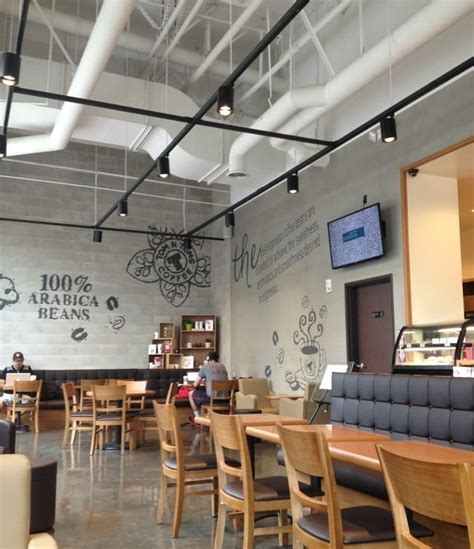 The space is an old warehouse. Tom N Toms Coffee in San Diego