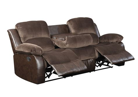reclining sofa with drop down table furnituresaving com brown double reclining sofa w drop