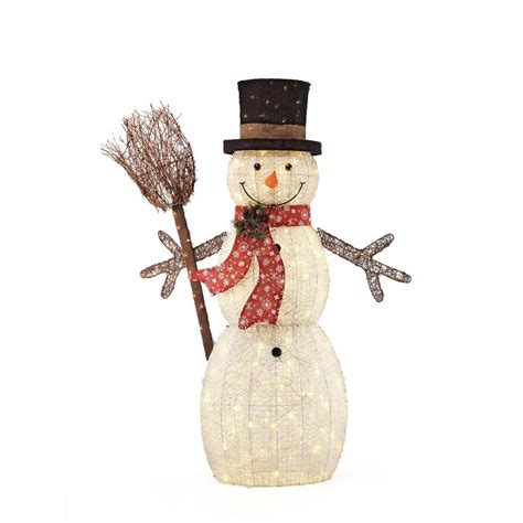 home accents holiday 60in 270l led pvc snowman and broom