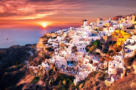 santorini greece hd wallpaper background image