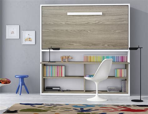 lit escamotable bureau int r armoire lit spacio avec bureau couchage 90 190 20 cm