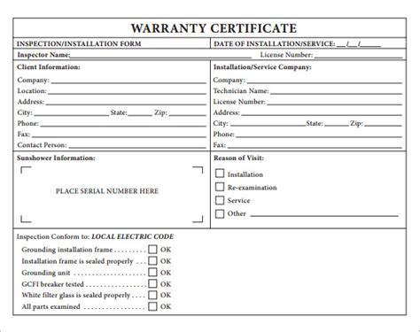 sample warranty certificate templates