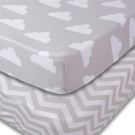 crib sheets 2 unisex clouds and chevron fitted soft