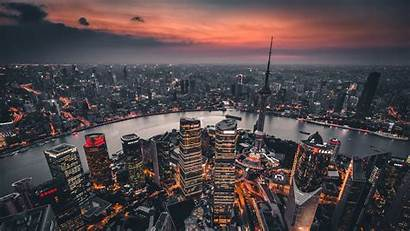 Night Aerial Shanghai Lights China Background Overview
