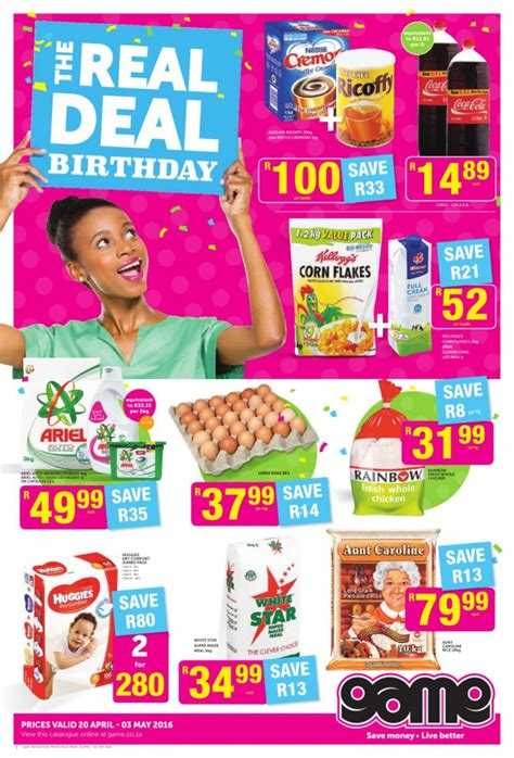 game weekly food specials catalogue  apr