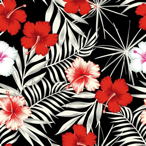 color hibiscus   black white leaves seamless pattern