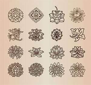 Vintage flower pattern elements vector set Free vector in ...