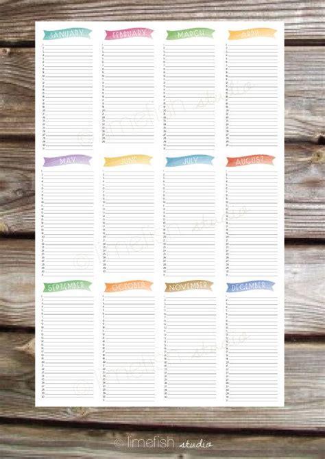 printable birthday calendar  poster print instant