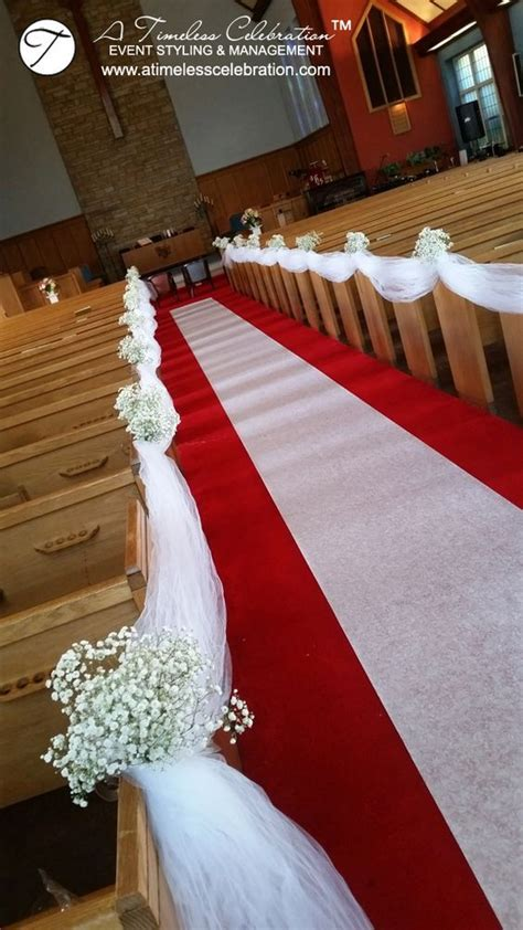 montreal wedding ceremony baby s breath on church pews