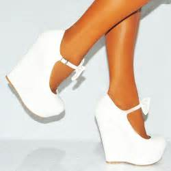 white pu faux leather bow high heel wedge platforms shoes
