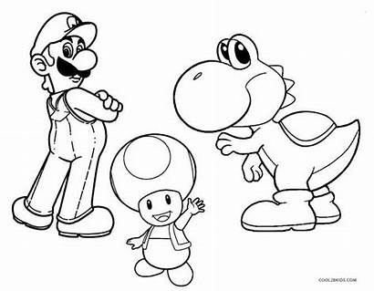 Yoshi Mario Coloring Pages Super Bros Characters