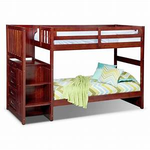 Ranger Merlot Twin/Twin Bunk Bed with Stairs and 4-Drawer ...