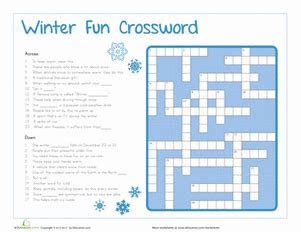 winter crossword puzzle worksheets and free printables