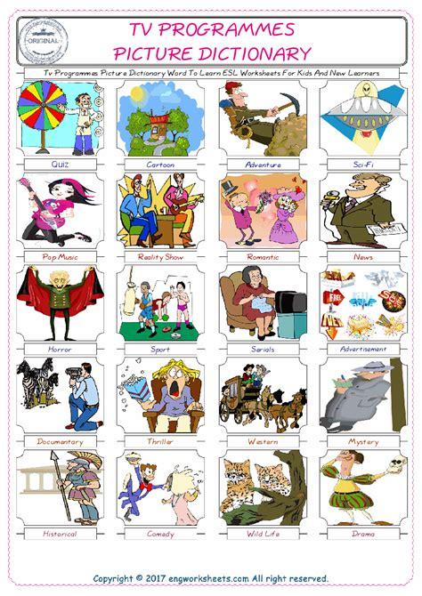 tv programmes esl printable english vocabulary worksheets