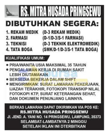 recruitment rs mitra husada pringsewu