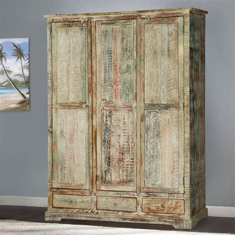 Large Wardrobe by Woodsburgh White Washed Reclaimed Wood Large Wardrobe Armoire