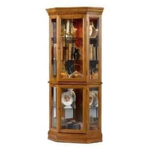 pulaski estate oak corner curio cabinet