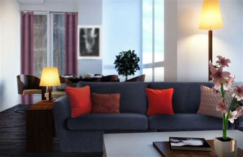 canapé gris et noir quels coussins pour un canapé bleu