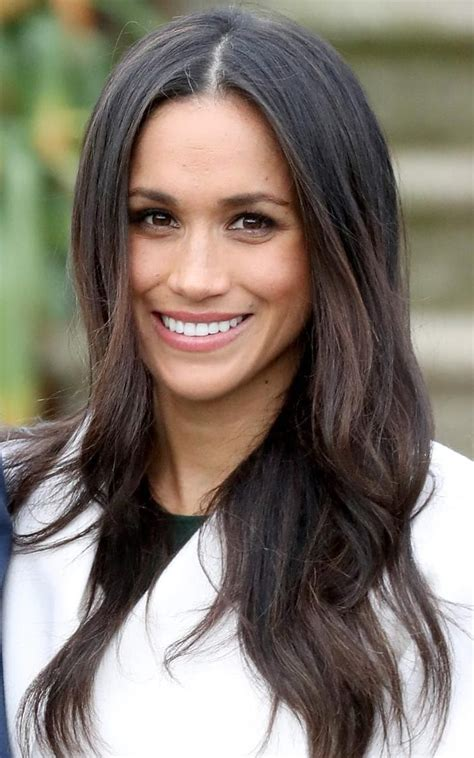 glossy hair   toned arms     meghan markle makeover