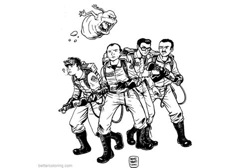 ghostbusters coloring pages sketch  printable