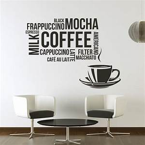 Coffee types wall sticker food drink quote wall decal for What kind of paint to use on kitchen cabinets for sticker wall art decals
