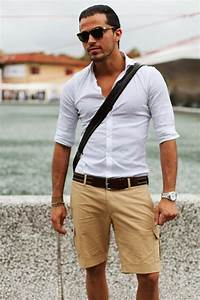 Men's White Long Sleeve Shirt, Tan Shorts, Dark Brown ...