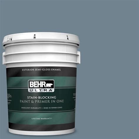behr ultra 5 gal n480 5 adirondack blue gloss enamel exterior paint and primer in one
