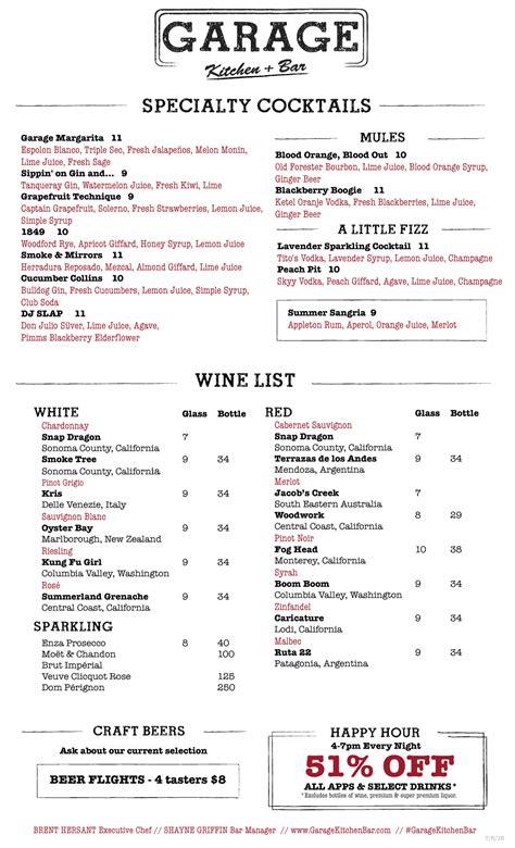 kitchen bar menu garage kitchen bar menu gasl san diego restaurant