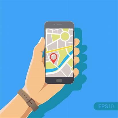Vector Gps Phone Holding Map Hand Cartoon