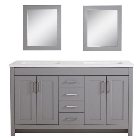 White Vanity With Gray Top by Home Decorators Collection Westcourt 61 In W Bath Vanity