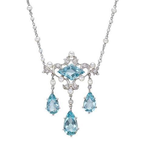 antique aquamarine lavalier pendant necklace betteridge