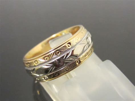 Antique 14k Solid Yellow & White Gold Engraved Wedding