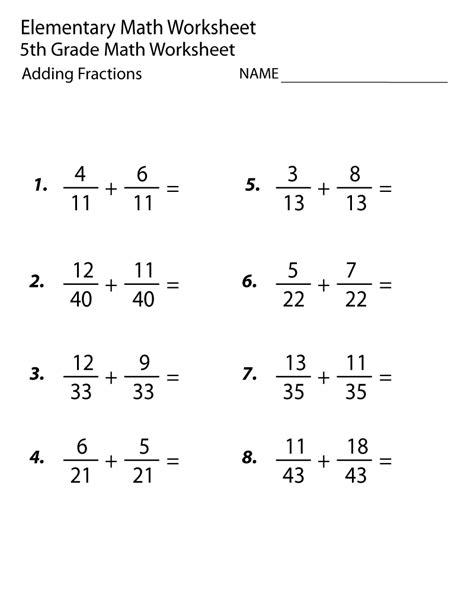 3rd grade math worksheet adding fractions 5th grade math worksheets adding fraction math