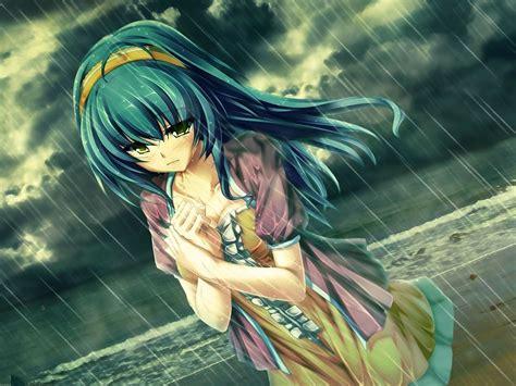 anime triste en el papel pintado de lluvia fondos de