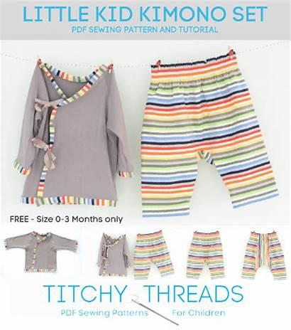 Sewing Pattern Patterns Kimono Clothes Pdf Kid