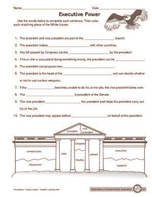 worksheet executive branch of government classroom
